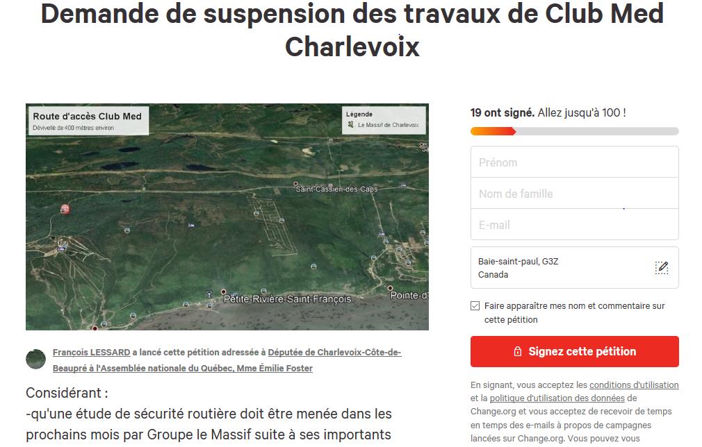 Une pétition est lancée pour suspendre les travaux reliés à l'implantation du Club Med
