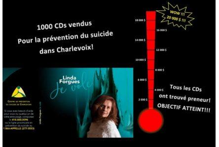 Linda Forgues récole 20 000$ pour le Centre de prévention du suicide