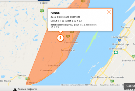 Panne d'électricité résolue dans Charlevoix-Est