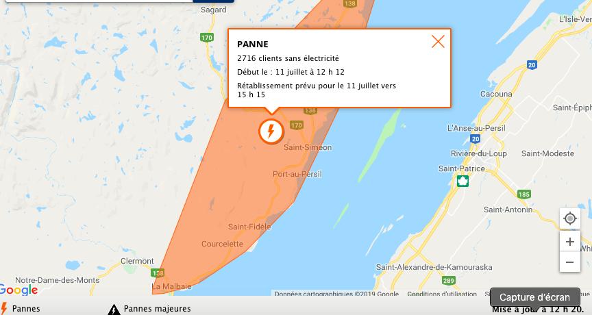 2700 clients sans électricité dans Charlevoix-Est