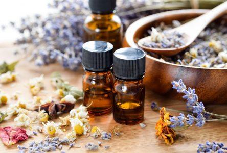 Présentation de parfums d'aromathérapie