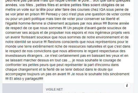 Caroline Desbiens du Bloc Québécois aurait tenu des propos anti-islam