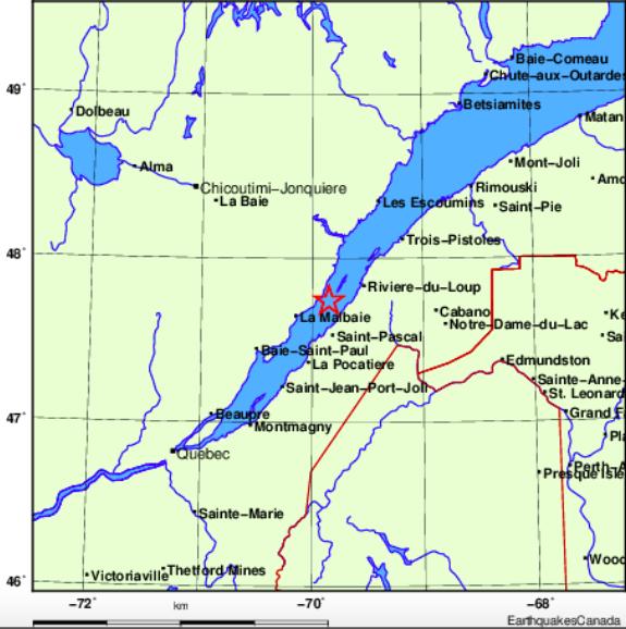 Secousse sismique ressentie dans Charlevoix-Est