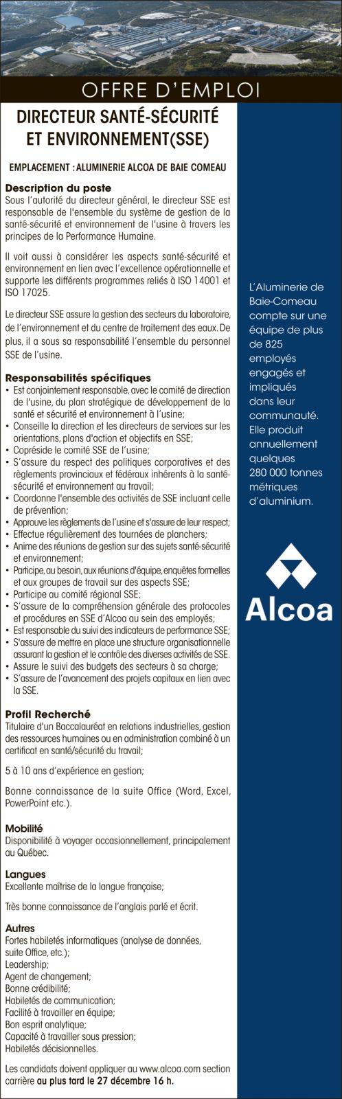 Directeur santé-sécurité et environnement (SSE)