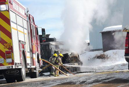 Incendie d'un camion à La Malbaie
