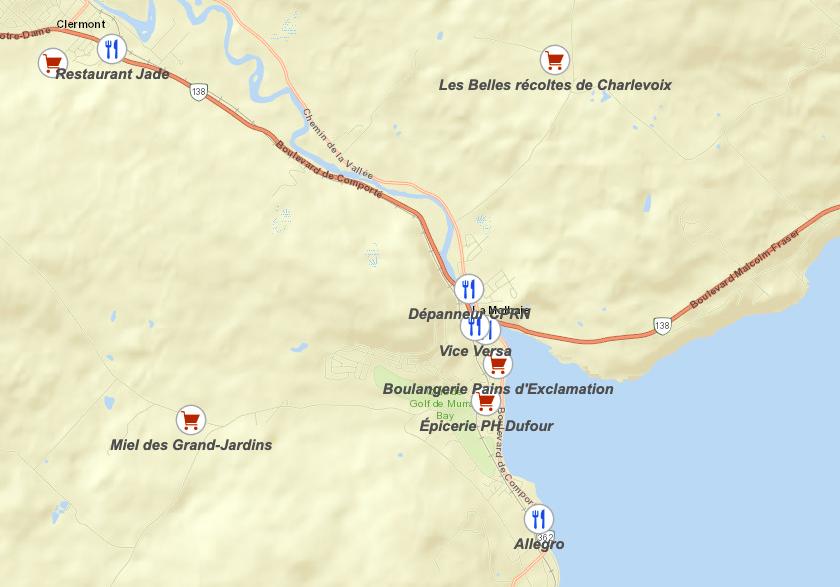 Une carte interactive pour s'alimenter dans Charlevoix-Est