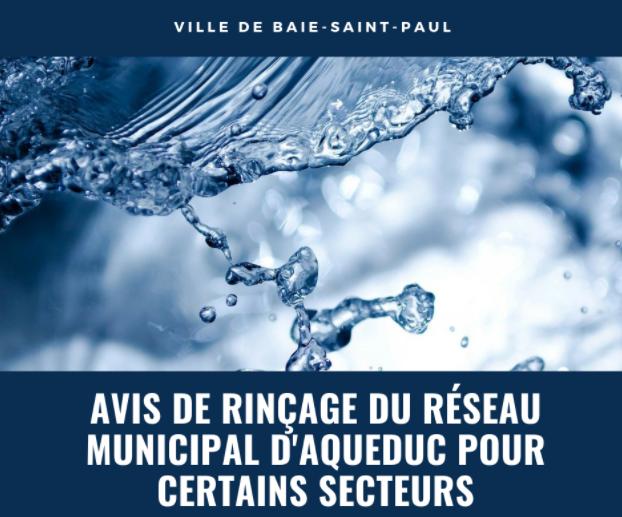 Avis de rinçage du réseau d'eau potable à Baie-Saint-Paul