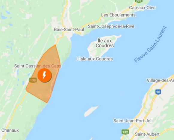 1150 clients sans électricité à Petite-Rivière-Saint-François
